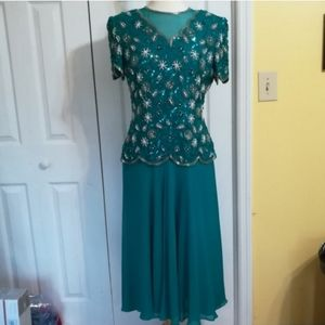 Teal vintage silk beaded evening gown